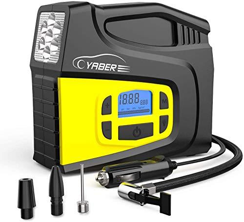 YABER Auto Luftpumpe, 12V Luftkompressor Tragbarer Auto Kompressor 150PSI mit LCD Display und LED Taschenlampe für Auto, Fahrrad, Motorrad, Ball