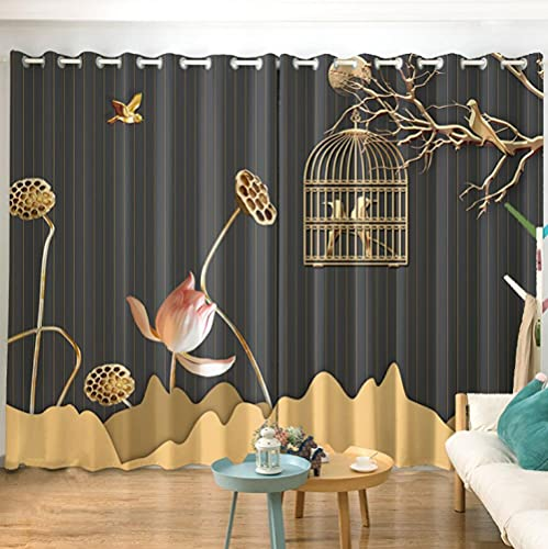 Blackout Printed Curtains Pink Lotus Bird Cage Curtains For Bedroom Living Room Kids Room Window Decorate Super Soft Polyester Eyelet Thermal Blackout Curtains - 72x84 inch