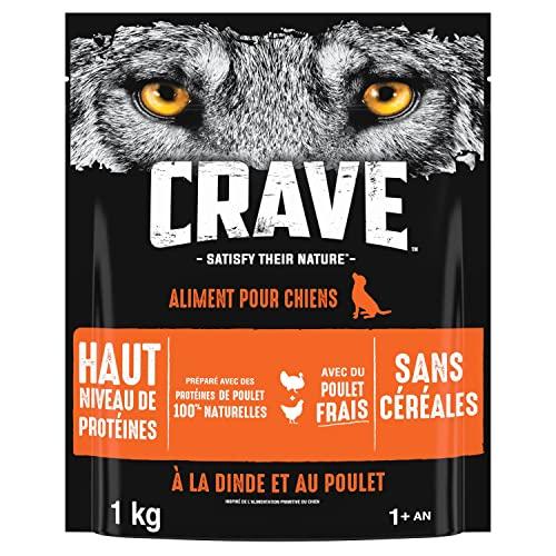 CRAVE Croquettes pour chien adulte – Goût Dinde & Poulet – Nourriture sèche sans colorant, arômes ou conservateurs – 6 sacs de 1kg