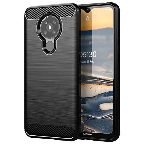betterfon | Nokia 5.3 Hülle Carbon Erscheinungsbild Outdoor Stoßfeste Handy Tasche Hybrid Hülle Schutzhülle TPU Silikon Cover Bumper für Nokia 5.3 Schwarz