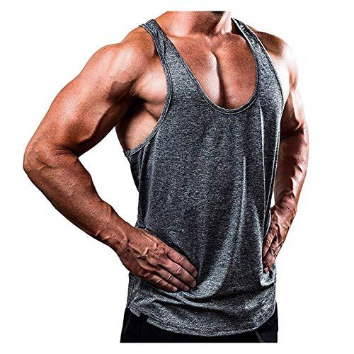 Camiseta de Tirantes para Hombre,4 Colores Nueva Ropa de Fitness Camiseta sin Mangas de Culturismo Camiseta sin Mangas de algodón con Tirantes para Hombre Camiseta de Entrenamiento para hombr