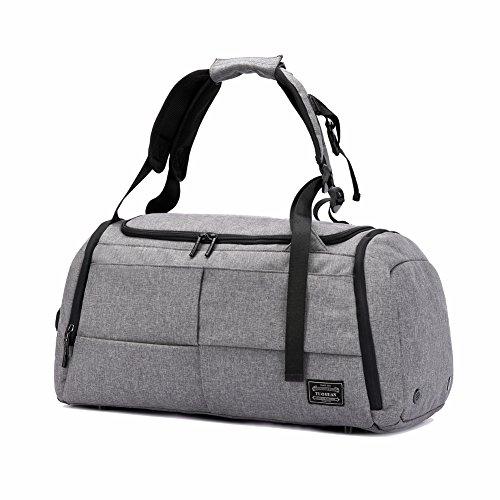 SKYIOL Sporttasche mit Schuhfach 3 in 1 Fitness Duffel Tasche Leicht Reisegepäck Wasserdicht Rucksack Handgepäck Gym Urlaub Tasche Diebstahlschutz Unisex für Damen, Herren (Grau)