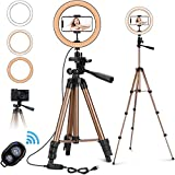 "PEYOU 10"" Selfie Ring Light with 50'' Tripod Stand for Live Stream Makeup"