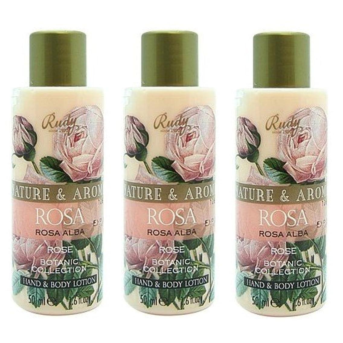 憂慮すべき放棄ユニークな(3個セット)RUDY Nature&Arome SERIES ルディ ナチュール&アロマ Mini Body lotion ミニボディローション ローズ