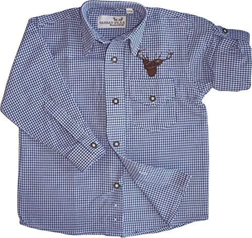 German Wear German Wear Kinder Trachtenhemd Trachtenlederhosen mit Hirsch Stickerei karo, 104/110 Blau