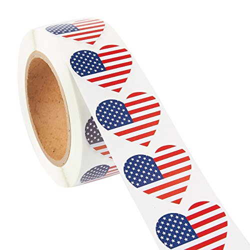 American Flag Heart Self Adhesive Sticker Roll (1000-Count)