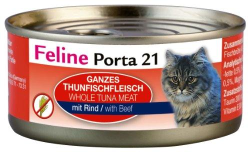 Feline Porta Katzenfutter Feline Porta 21 Thunfisch plus Rind 156 g, 6er Pack (6 x 156 g)