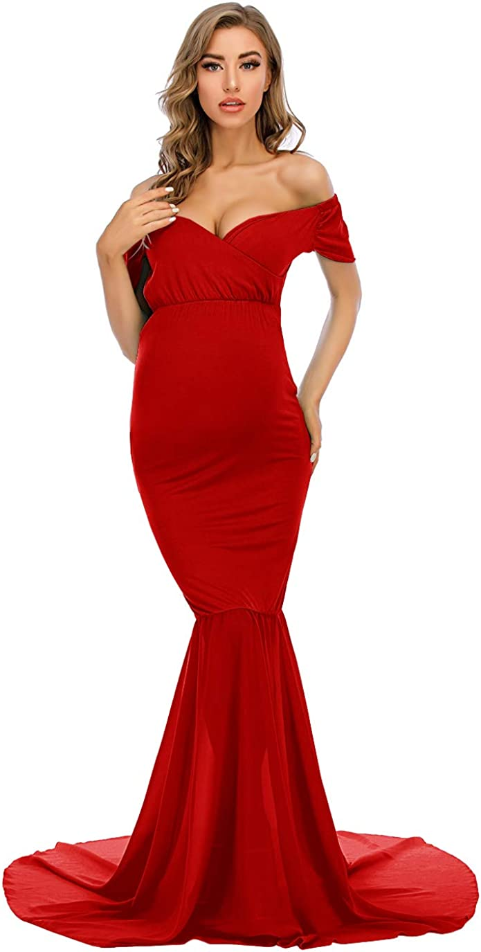 ZIUMUDY Maternity Off Shoulder Fitted Dress for Photography Photo Shoot Mermaid Maxi Baby Shower Dress Wedding Dress