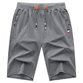GEEK LIGHTING Mens Shorts Casual Comfortable Workout Shorts Drawstring Zipper Pockets Elastic Waist Grey Large