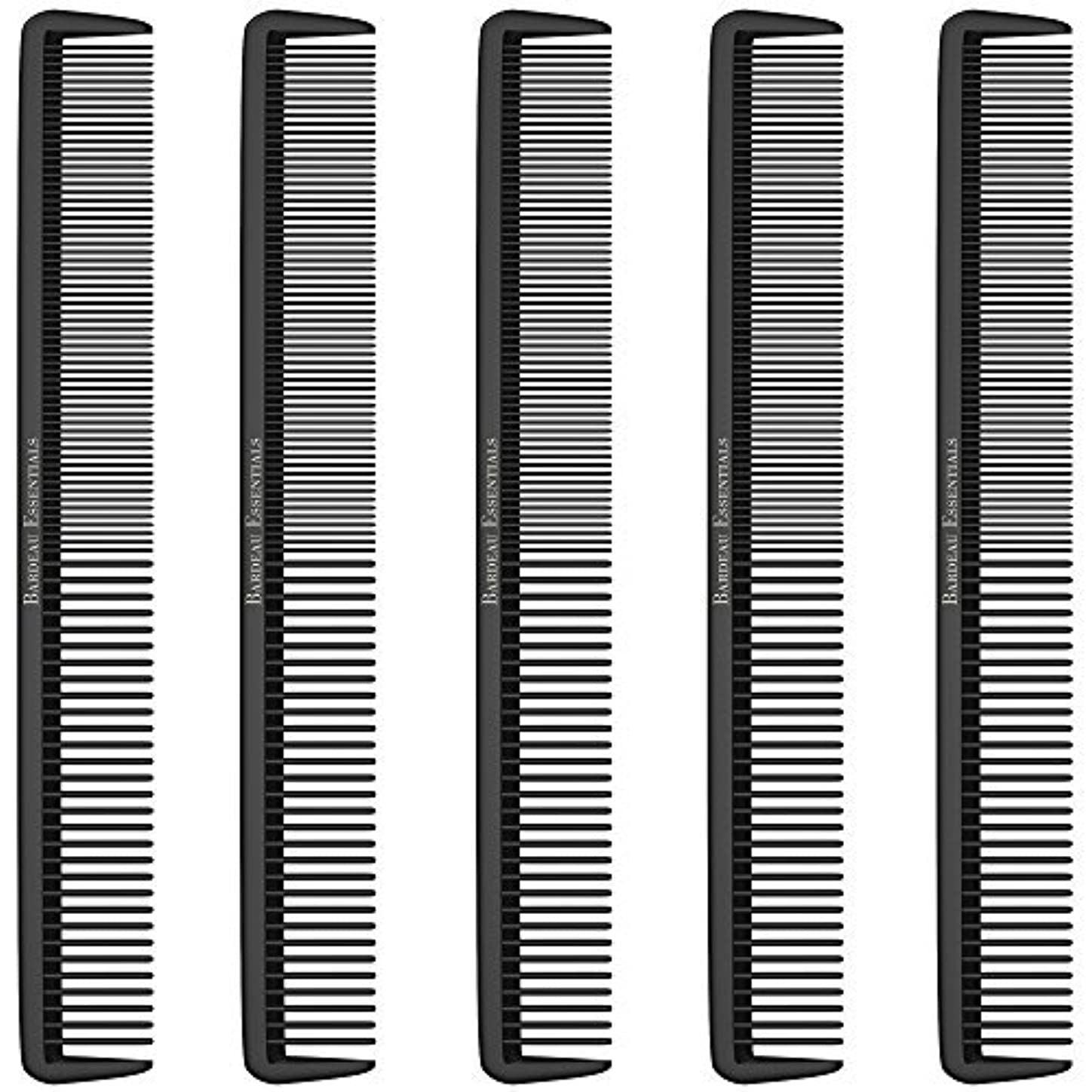 "たるみ地理ドライStyling Comb (5 Pack) - Professional 8.75"" Black Carbon Fiber Anti Static Chemical And Heat Resistant Hair Combs For All Hair Types For Men and Women - By Bardeau Essentials [並行輸入品]"