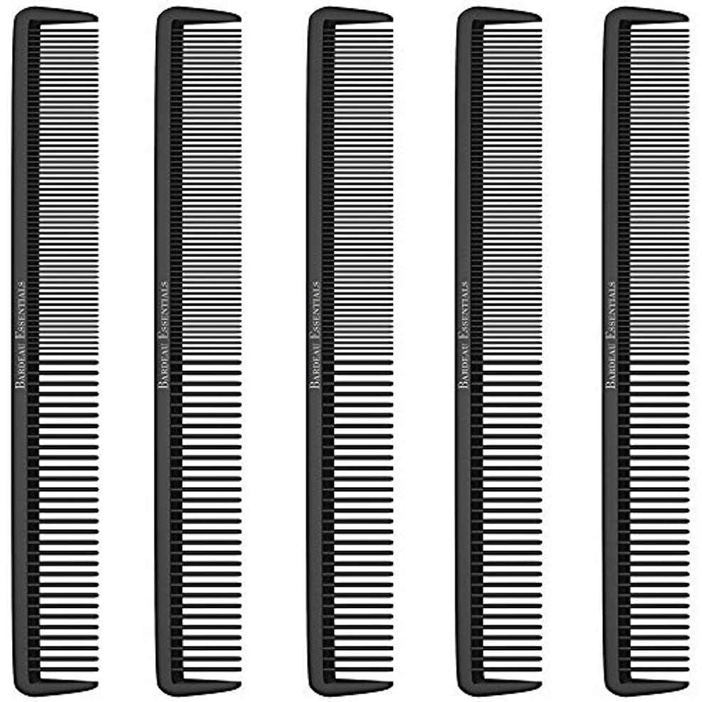 """インゲン大腿ファシズムStyling Comb (5 Pack) - Professional 8.75"""" Black Carbon Fiber Anti Static Chemical And Heat Resistant Hair Combs For All Hair Types For Men and Women - By Bardeau Essentials [並行輸入品]"""