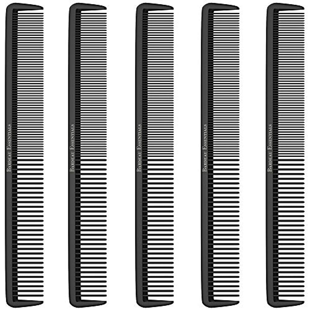 "徴収水曜日志すStyling Comb (5 Pack) - Professional 8.75"" Black Carbon Fiber Anti Static Chemical And Heat Resistant Hair Combs For All Hair Types For Men and Women - By Bardeau Essentials [並行輸入品]"