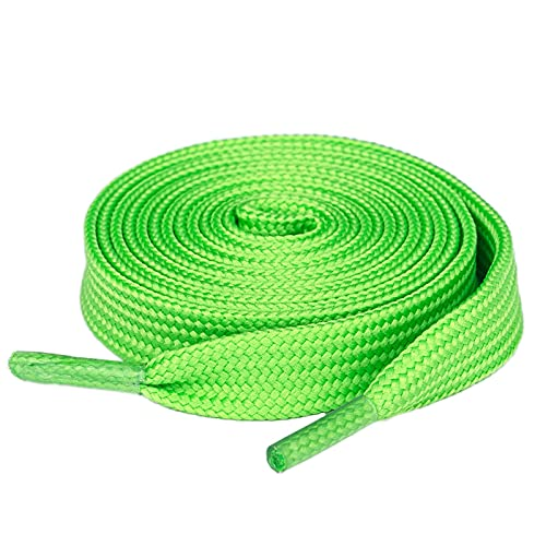 """Olukssck [1 Pair] Flat Shoe Laces for Sneakers, 2/5"""" Wide Athletic Shoelaces Green 48 inch(122cm)"""
