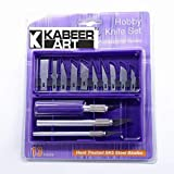 KABEER ART 13 Blades 3 Knife Handles with Box Non-Slip Metal Scalpel Knife Tools Kit Paper Cutter Engraving Craft Knifes Sculpture Carving Knife