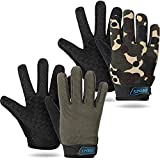 2 Pairs Kids Cycling Gloves Children Sport Gloves Full Finger Fishing Gloves Breathable Non-Slip Children Bike Gloves for Outdoor Sports Hiking Riding Fishing Climbing (Army Green, Camouflage)