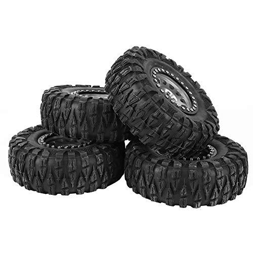 SSPKTY 4 Piezas RC Crawler Caucho Neumático Metal Metal Wheel Hub Ajuste para 1/10 RC Car 2.2 Pulgada Plata