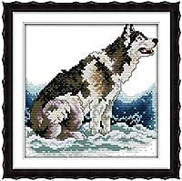 刻印されたクロスステッチキット初心者の刺繡-どのようにオオカミの方法-11CT事前に印刷されたクロスステッチ用品家の装飾のためのDIYニードルポイント手工芸かぎ針編みギフトキット(16x20インチ)