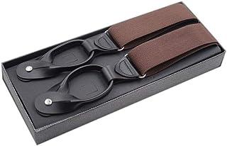 メンズボーイアジャスタブルズボンのベルトYシェイプサスペンダー弾性レザーピュアカラーボタンサスペンダー Comfortable (Color : NO.2)