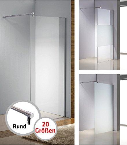 CLP Edelstahl-Duschabtrennung, Nano Glas, Haltestange: RUND (bis zu 3 Glasfarben und 20 Größen wählbar), Farbe:klarglas, Größe:70x200x150 cm