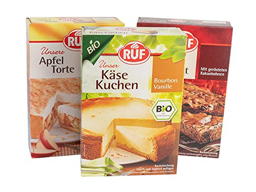 RUF Topseller Torten Premium D: RUF Tarte au Chocolat 470g, Bio Käse Kuchen 560g, Apfel Torte 500g