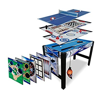 Triumph 13-in-1 Combo Game Table Includes Basketball, Table Tennis, Billiards, Push Hockey, Launch Football, Baseball, Tic-Tac-Toe, and Skee Bean Bag Toss from Escalade Sports
