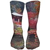 WH-CLA Calcetines Largos Kyoto Japan Lake Temple Moda Hombre Cosplay Sox Medias Atléticas Novedad Impreso Cálido Mujer Caminando 50Cm Deporte Al Aire Libre Calcetines Casuales Cómodos Ca
