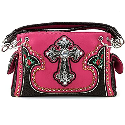 Justin West Rhinestone Cross Embroidery Flowers Leather Weave Pattern Concealed Carry Handbag Purse (Hot Pink)