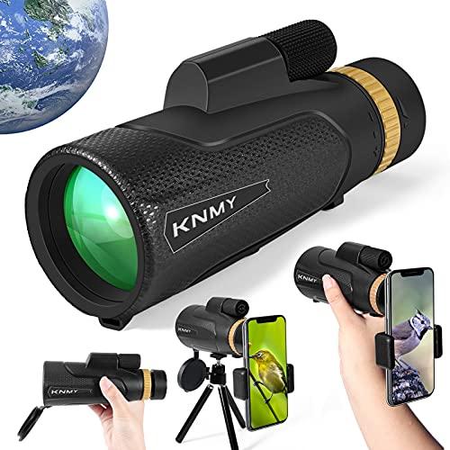 KMNY Telescopio Monocular 16 x 50, HD Monocula Adulto Ninos Catalejos de Gran Alcance Zoom para Movil, con Soporte para Smartphone Trípode para Escalada, Caza, Senderismo Observación de Aves