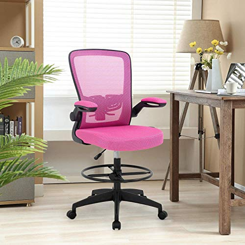 Drafting Chair for Standing Desk,Tall Office Desk Chair with Flip Up Arms Foot Rest Lumbar Support,Adjustable Height Ergonomic Mid-Back Mesh Drafting Stool,Computer Executive Rolling Chair,Pink