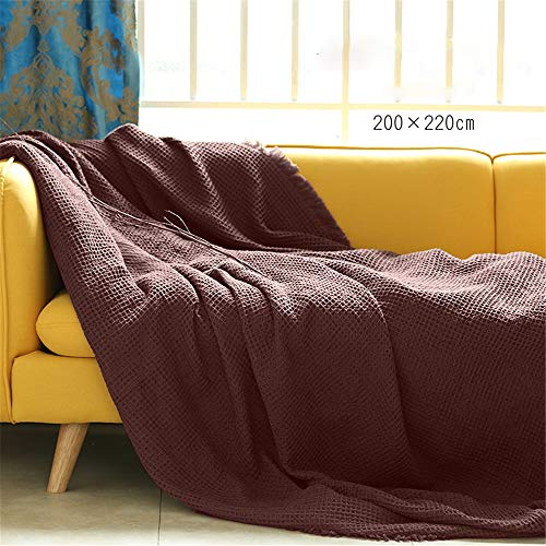 DMCAH Lanza la Cama Algodón Waffle Weave Cama Manta Decoraciones de Navidad Perfecto for la Cama Decoración for Todas Las Estaciones (Color : Café, tamaño : 200x220cm)