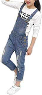 Girls Big Kid Adjustable Strap Long Jeans Cotton Suspender Denim Bib Overalls 1P