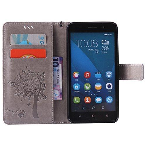 Nancen Compatible with Handyhülle Huawei Honor 4X (5,5 Zoll) Flip Schutzhülle Zubehör Lederhülle mit Silikon Back Cover PU Leder Handytasche im Bookstyle Stand Funktion Kartenfächer - 3