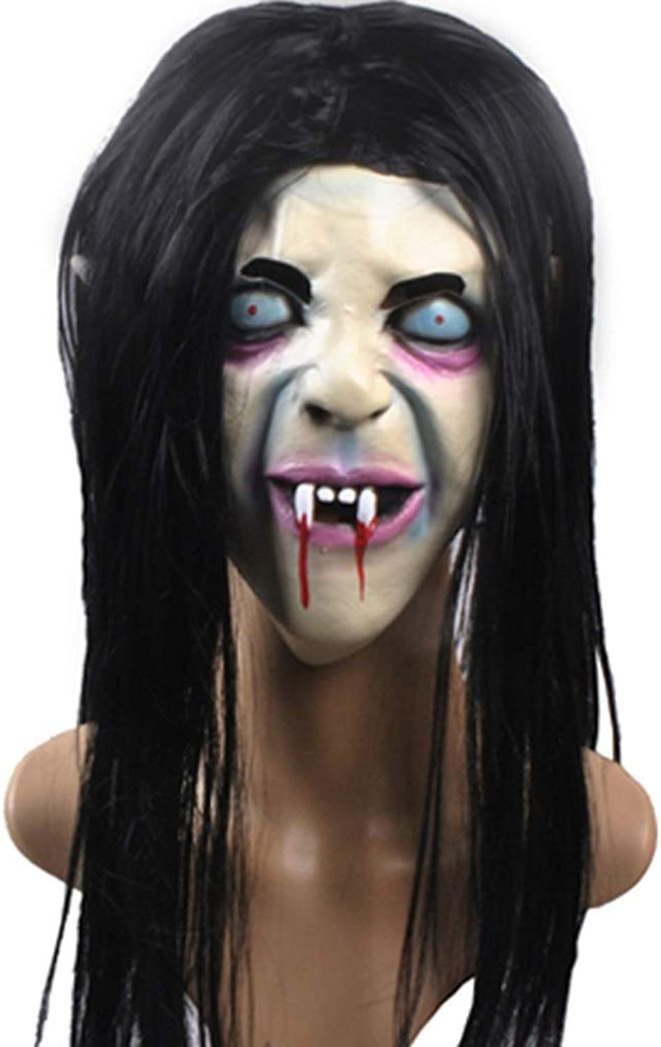 Halloween scary witch mask Curse scorpion ghost mask Horror hood mask Brunette zombie mask Masks (color   Black, Size   22  21  67CM 9  8  26 inch)