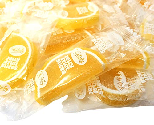 Funtasty Jelly Fruit Slices, Lemon Flavored Individually Wrapped Bulk Candy, 2 Lbs