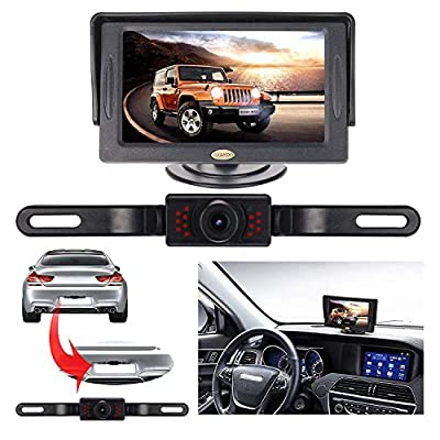Backup Camera and Monitor Kit for Car, RAAYOO Universal Wired 13 Infrared LED Lights Night Vision Car Parking Assistance License Plate Rear View Backup Camera and 4.3 inch Color TFT LCD Monitor by RAAYOO