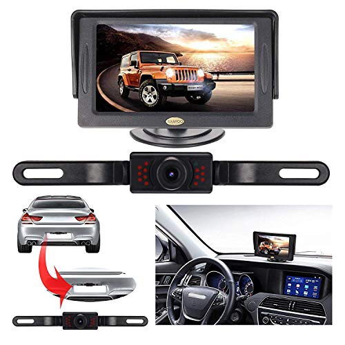 Backup Camera and Monitor Kit for Car, RAAYOO Universal Wired 13 Infrared LED Lights Night Vision Car Parking Assistance License Plate Rear View Backup Camera and 4.3 inch Color TFT LCD Monitor backup Cameras Electronics Features Vehicle