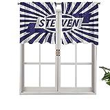 Hiiiman Cenefas de cortina opacas, paneles de cortina cortos, nombre común en inglés para niños, en azul, juego de 2, 42 x 36 pulgadas para cocina y baño