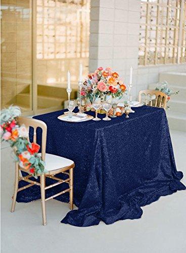 BLUELSS 5X9FT Rectangle Sequin paillette brodé nappe Tapis de table Linge de table blanc pour décoration de mariage-150X260CM-a,BLEU MARINE,90x132x330cm-225D