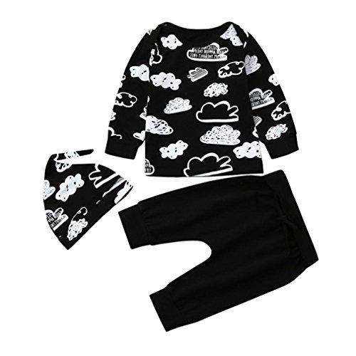 Koly の Nouveau-né Infantile Bébé Fille Garçon T-Shirt Tops + Pantalon Tenues Impression de Nuages Joli Ensemble de vêtements de bébé Baby Clothes Set (Noir, 3 Mois)
