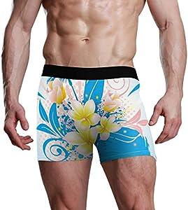 Fitted Boxer Bóxer Patrón de Flor de Plumeria Boxer Calzoncillos para Hombre,8,XXL