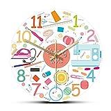 Rgzqrq Conjunto de Herramientas de Costura, Icono de impresión acrílica, Reloj de Pared, máquina de Coser, máquina de Coser, Reloj de Pared, sastrería, decoración de Tienda