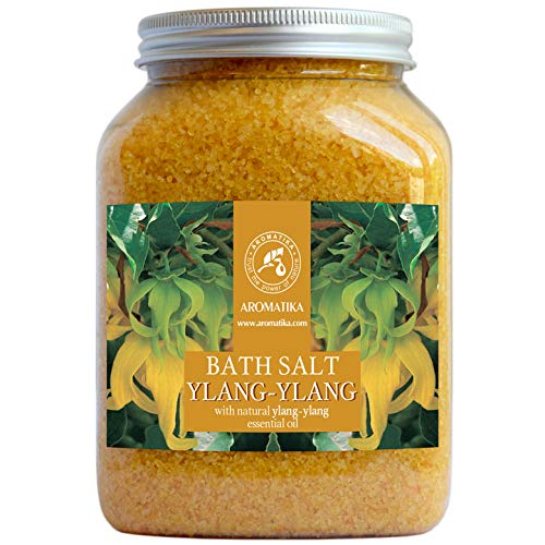 Badesalz Ylang Ylang 1300g - 100% Natürlichem Ätherischen Ylangöl - Besten für Guten Schlaf - Stressabbau - Beauty - Baden - Wellness - Schönheit - Entspannung - Aromatherapie - Spa