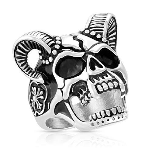 Autiga® Herrenring Edelstahl Totenkopf Skull Hörner Keltisches Kreuz Dämon Teufel Silber 70 - Ø 22,20 mm