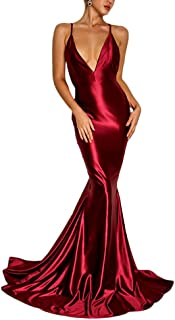 Women's Solid Satin Spaghetti Strap Backless V Neck Cocktail Evening Prom Gown Maxi Long Dress