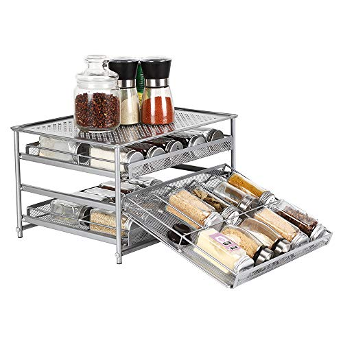 NEX 3-Tier Spice Rack 30 Bottle Standing Spice Drawer Storage Organizer for Kitchen Cabinet Countertop Silver
