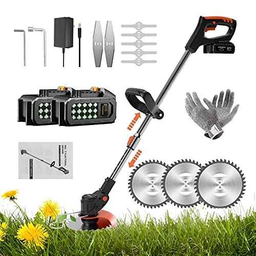 BTSXZCZ Cordless Grass Trimmer, 36V 3-in-1 Grass Trimmer/Edger with 2 6Ah Batteries & Charger, 15cm Cutting Diameter, Adjustable Head And Telescopic Handle Best Cordless Strimmers For Garden Lawn