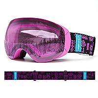 XCMAN OTG スキースノーボード、スノーゴーグル、マグネットPRO 2重レンズ 球形デザイン防曇ゴーグル、UVカットゴーグル、100%保護滑り止めストラップ男性用女性と青少年用 (紫-VLT63%)