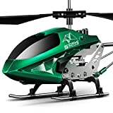 Remote Control Helicopter, S107H Aircraft with Altitude Hold, One Key take Off/Landing, 3.5 Channel, Gyro Stabilizer and High &Low Speed, LED Light for Indoor to Fly for Kids and Beginners(Green)