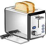 LOFTER Toaster 2 Scheiben Edelstahl Toaster mit LED Countdown Anzeige, Breit Schlitz, 6 Bräunungsstufen, Brotzentrierung, Auftau Aufwärm Stopp Funktion, 800W