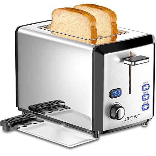 Toaster 2 Scheiben LOFTER Edelstahl Toaster mit LED Countdown Anzeige, Breit Schlitz, 6 Bräunungsstufen, Brotzentrierung, Auftau Aufwärm Stopp Funktion, 800W